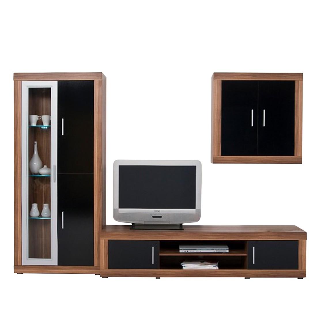 wohnwand leo gro schwarz wei ohne beleuchtung. Black Bedroom Furniture Sets. Home Design Ideas