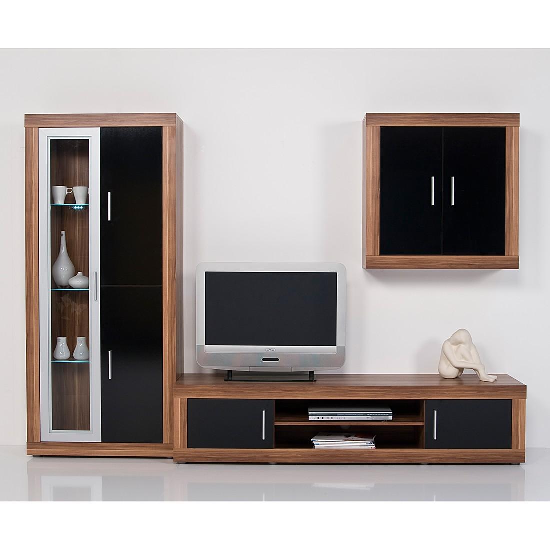 preisvergleich eu wohnwand nussbaum schwarz. Black Bedroom Furniture Sets. Home Design Ideas
