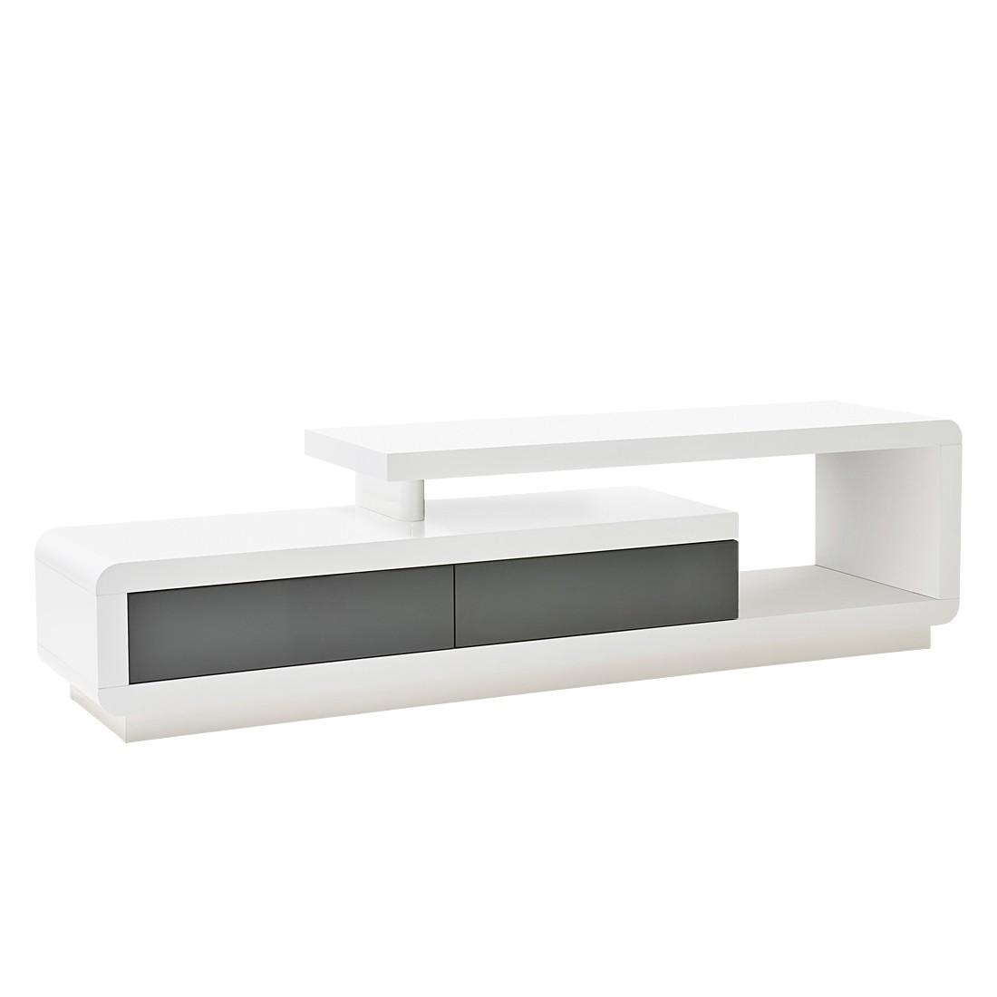 Cilli 1 TV- Lowboard Weiß/ Grau Hochglanz