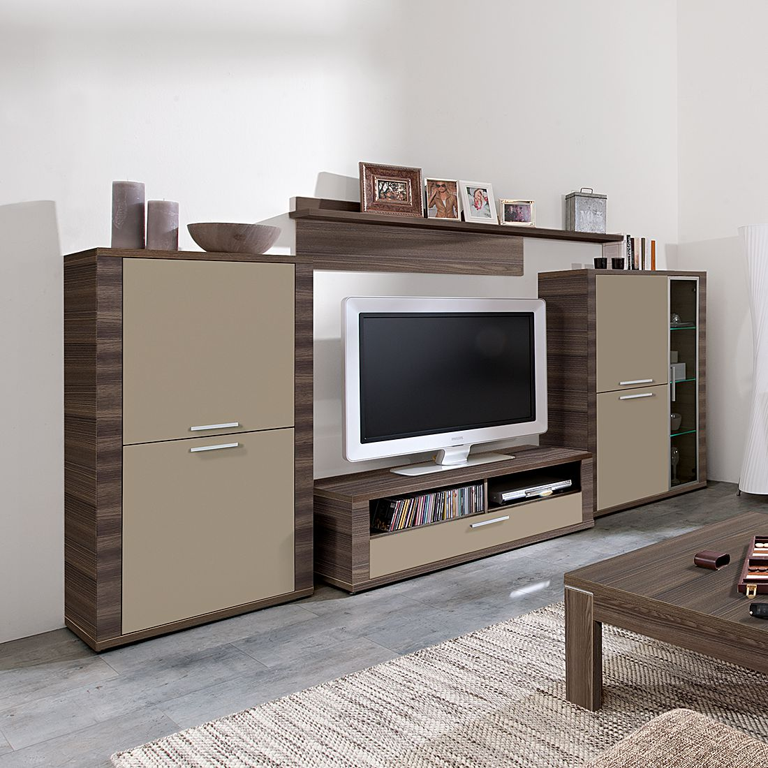 wohnwand cool 4 teilig 326cm breit eiche dunkel. Black Bedroom Furniture Sets. Home Design Ideas