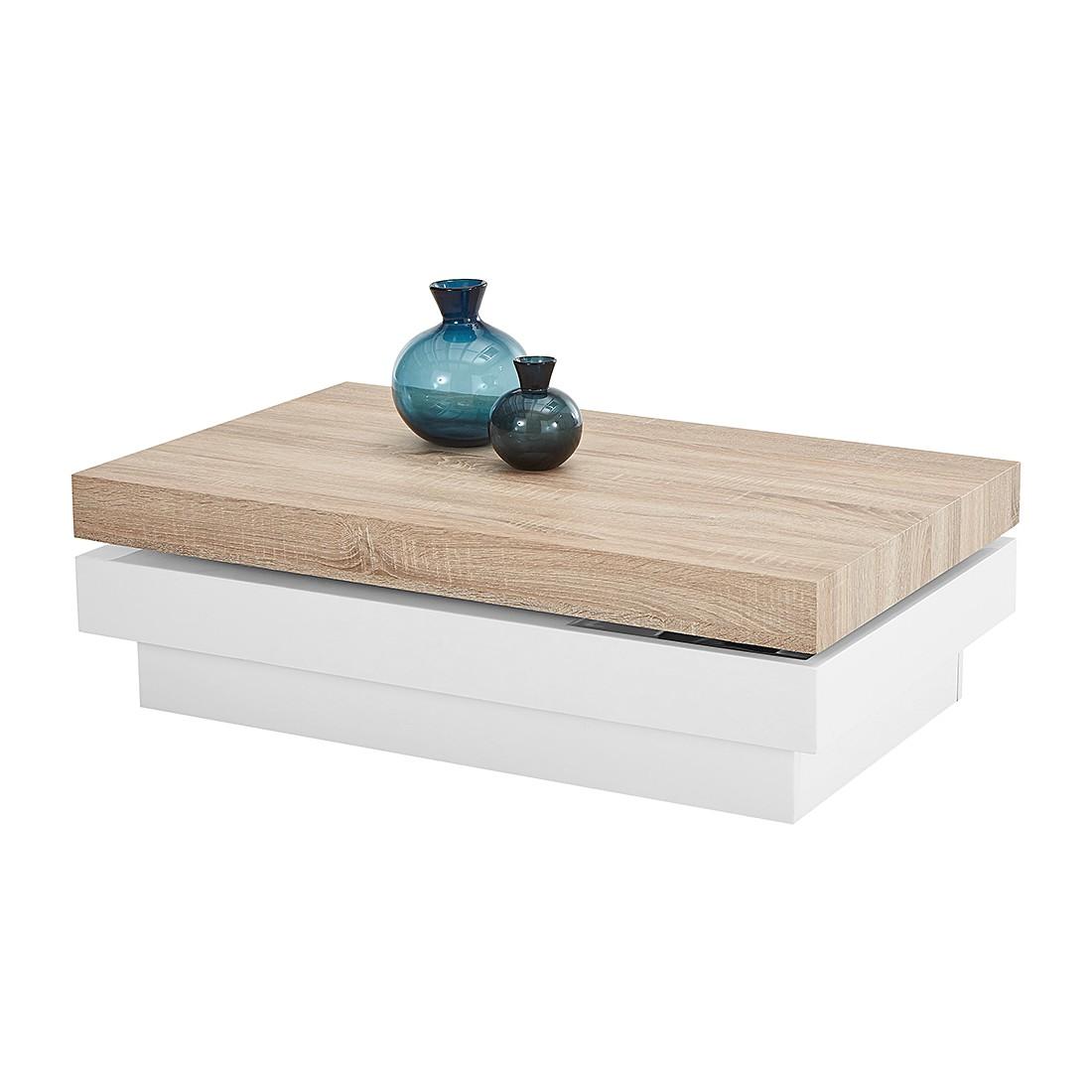 kleine meubels Salontafel Beloit - hoogglans wit/Sonoma eikenhouten ...