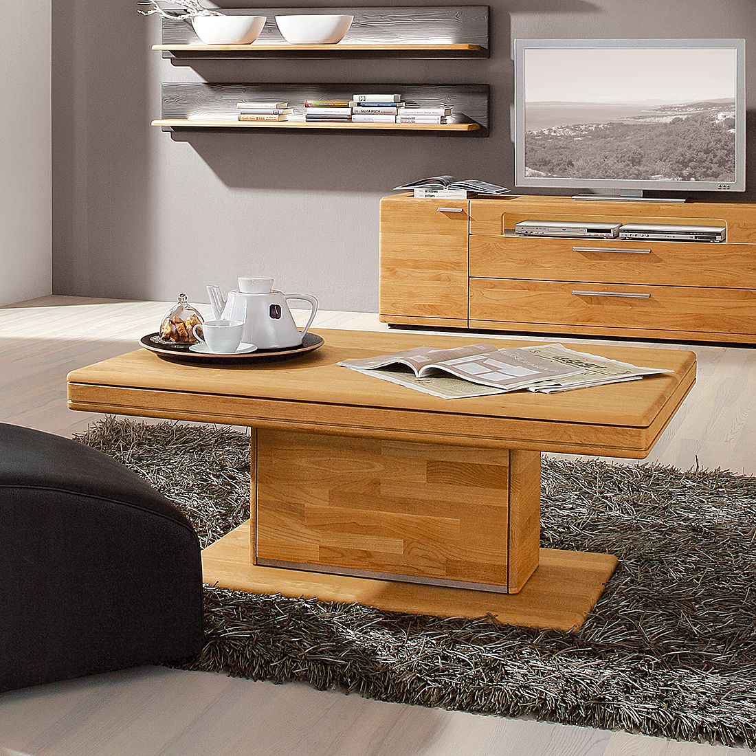 couchtisch curve ii erle massiv ohne beleuchtung. Black Bedroom Furniture Sets. Home Design Ideas