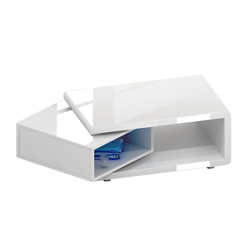 Couchtisch Lorainne (schwenkbar) - Hochglanz Weiß, loftscape