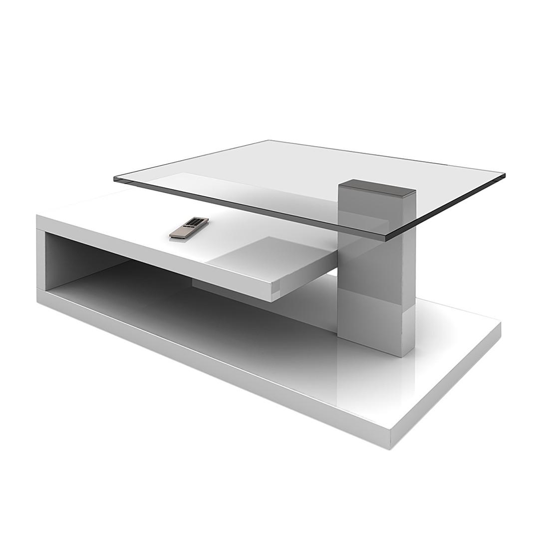 kleine meubels Salontafel Bemidji - hoogglans wit/grijs/zwart ...