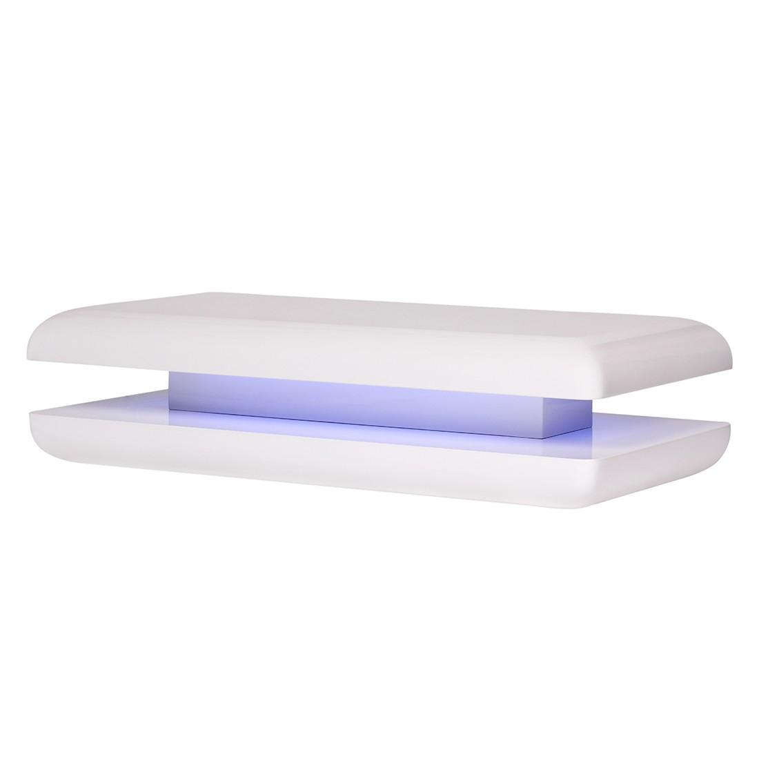 EEK A+, Couchtisch Square – Weiß Hochglanz, 120 cm, mit LED blau, Wohnling jetzt bestellen