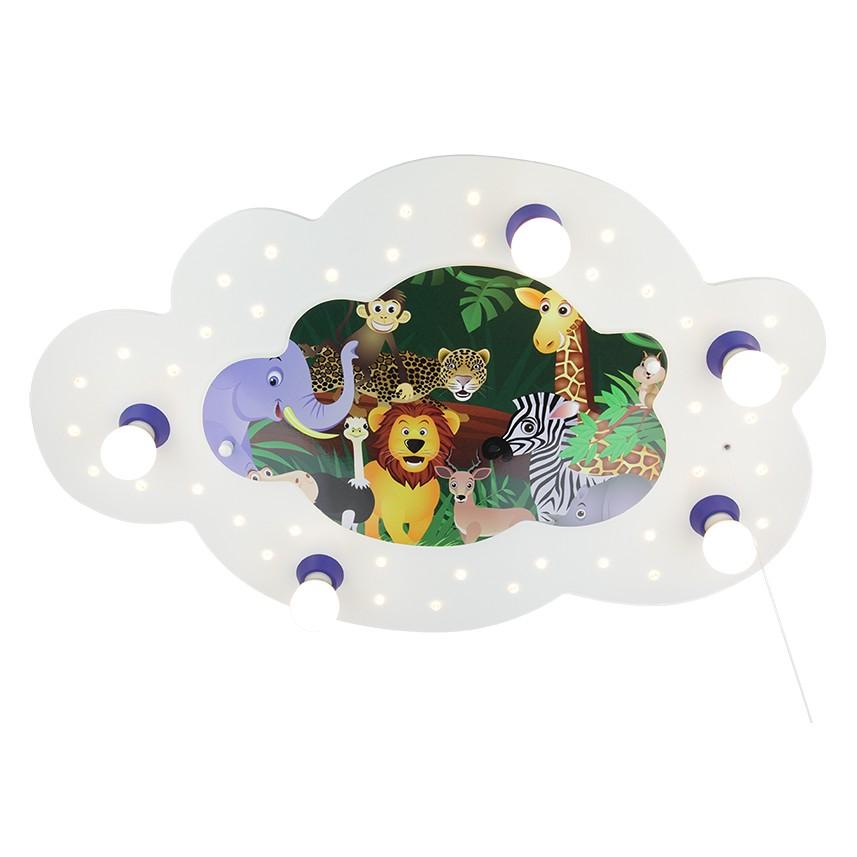 Deckenleuchte Bildwolke Dschungel 5/40 ● Holz ● 5-flammig- Elobra A+
