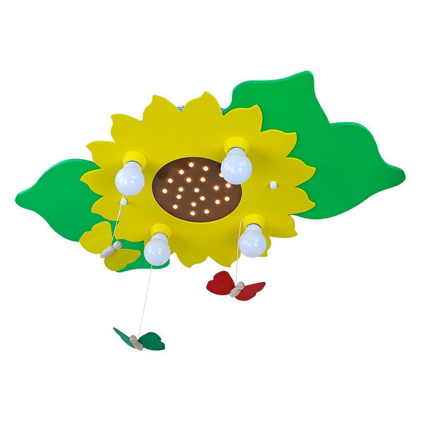 Deckenleuchte Blume/Blätter 4/20 ● Holz ● 4-flammig- Elobra A+