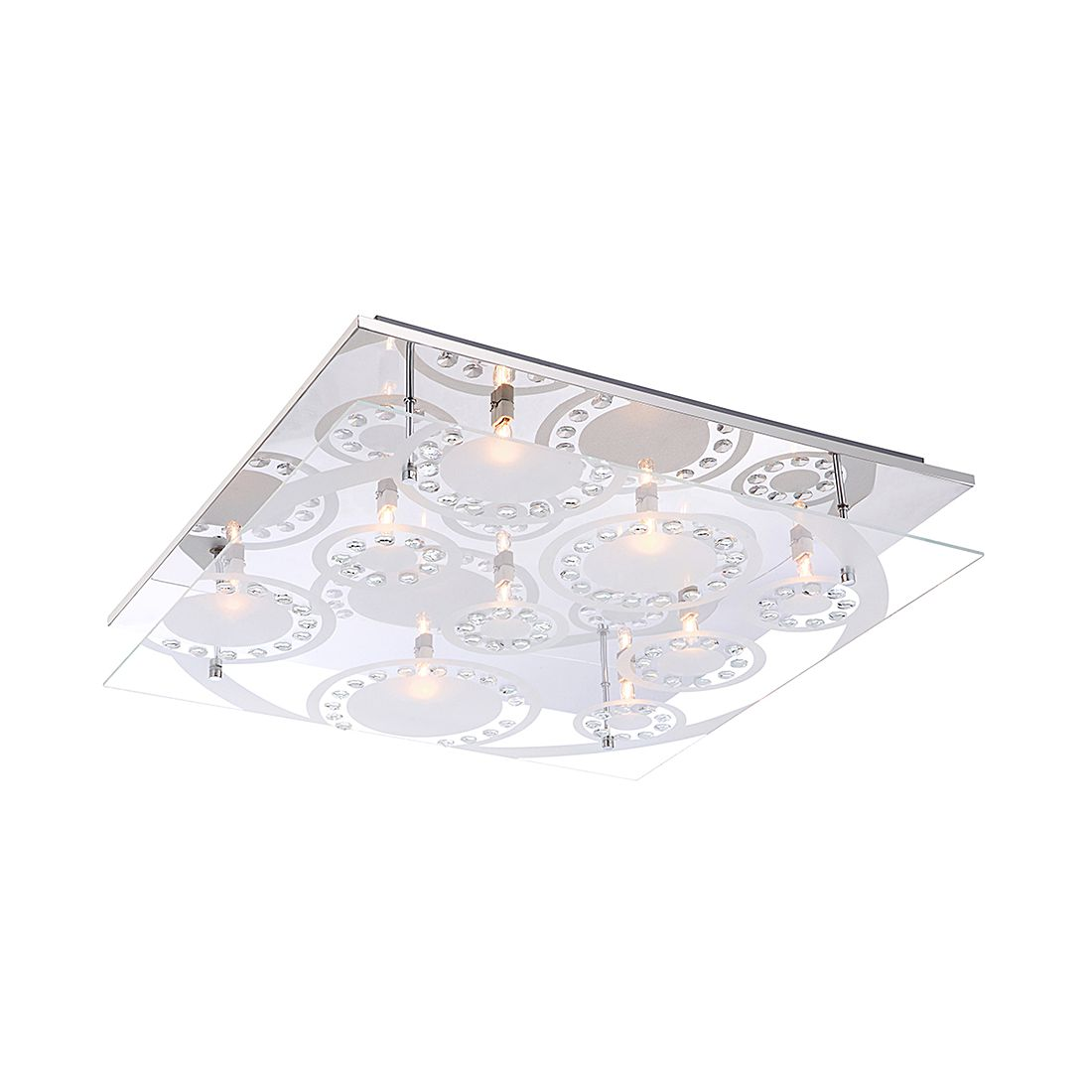 EEK A++, Deckenleuchte DIANNE I – Metall – Silber – 9-flammig, Globo Lighting günstig online kaufen