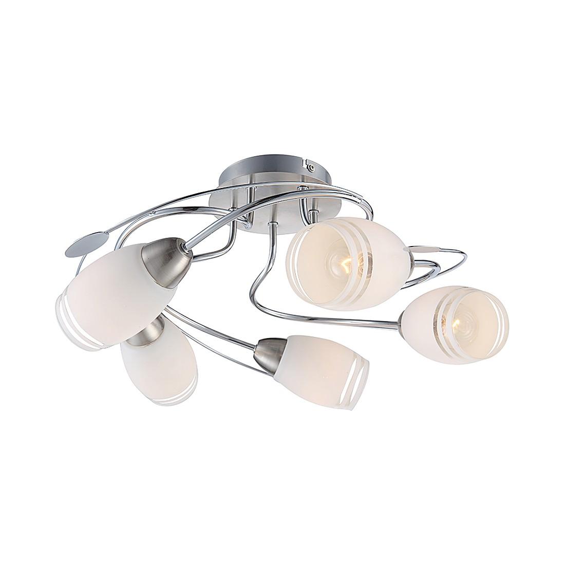 EEK A++, Deckenleuchte DL NICKEL MATT, CHROM, 5XE14 – Metall – Silber – 5-flammig, Globo Lighting kaufen