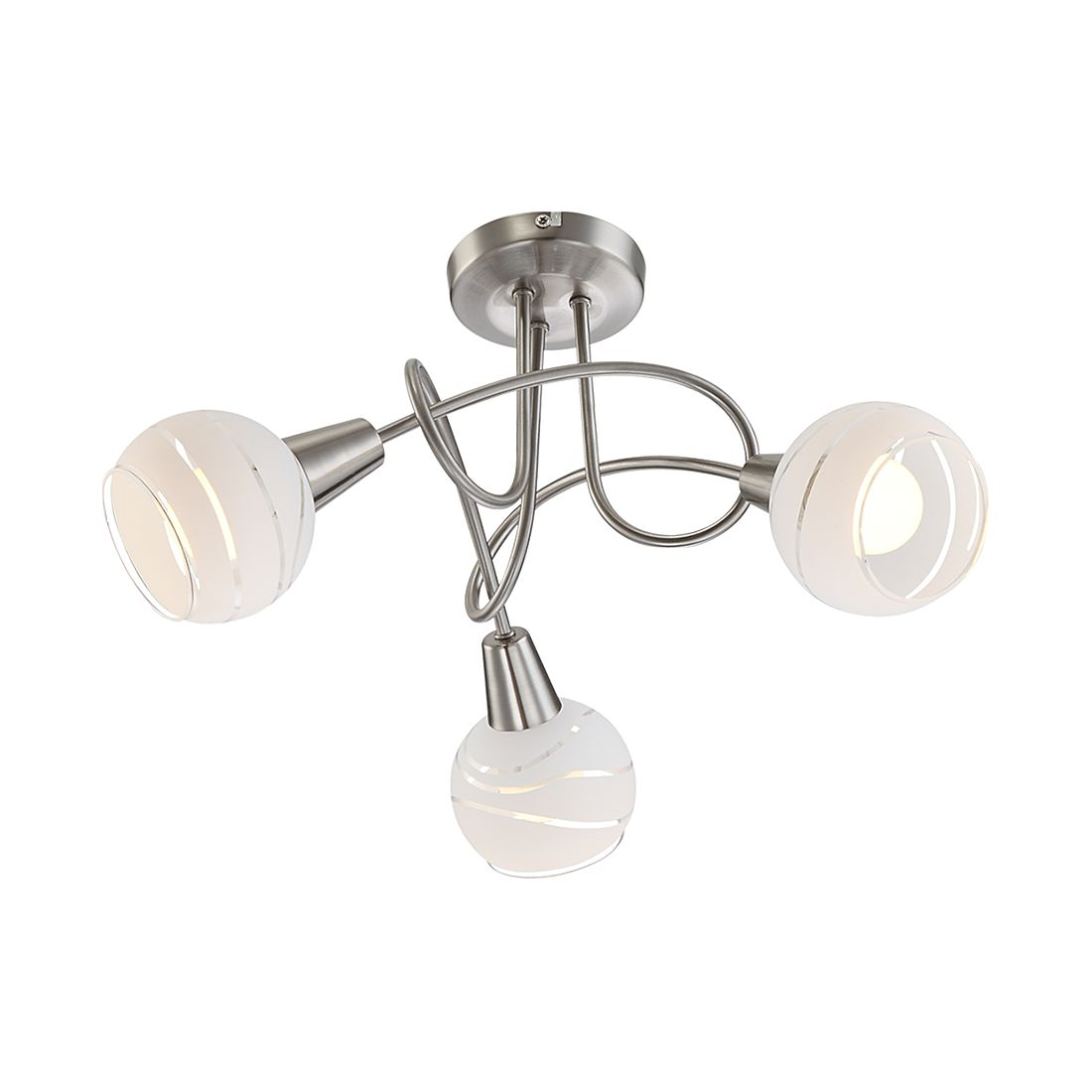 EEK A++, Deckenleuchte ELLIOTT – Nickel/Glas – 3-flammig, Globo Lighting online kaufen