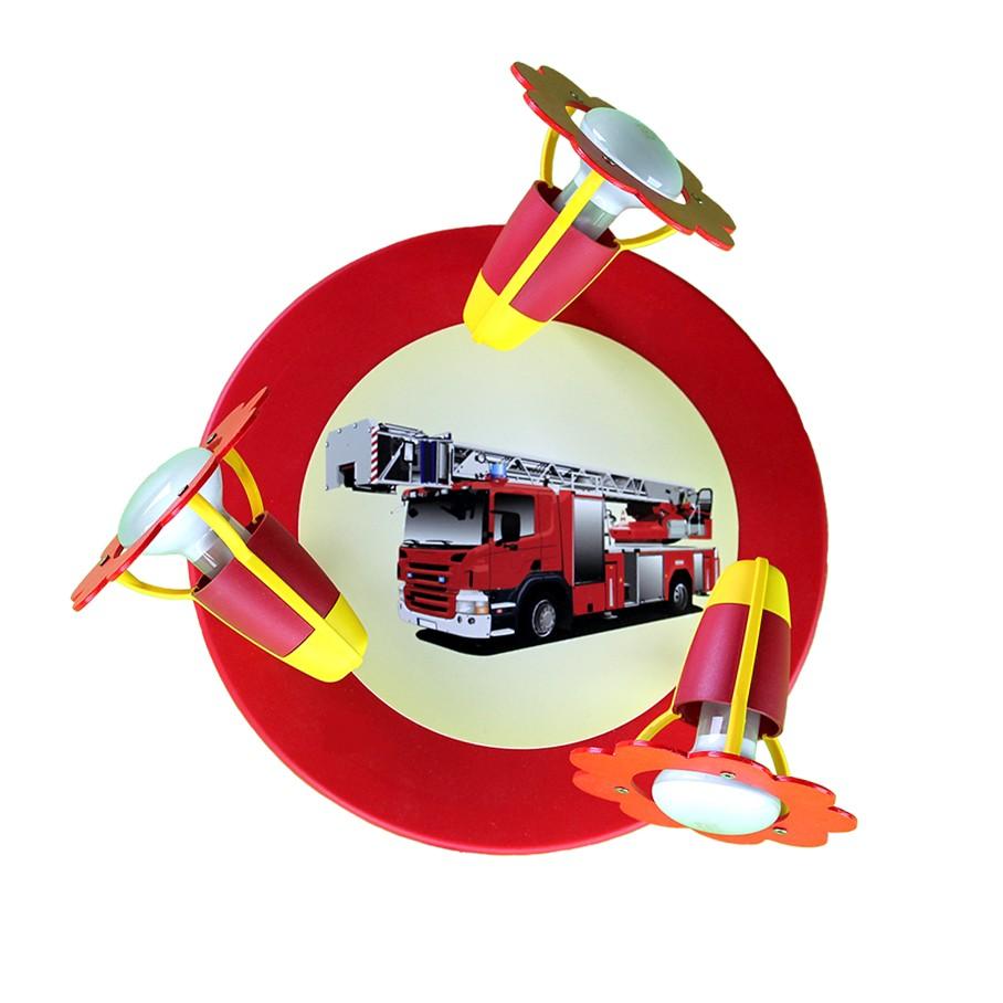 Deckenleuchte Feuerwehrauto ● Holz ● 3-flammig- Elobra A++
