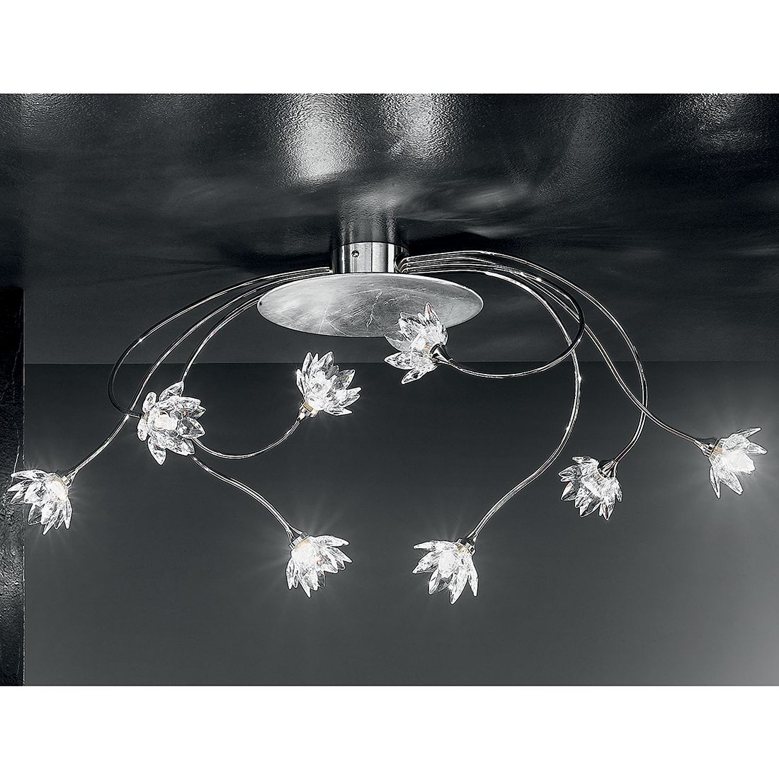 Deckenleuchte Fiorella Silber ● Metall/Glas ● Silber ● 8-flammig- Hans Kögl A