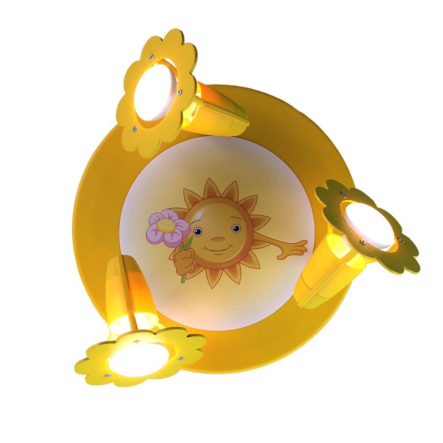 EEK A++, Deckenleuchte Sonne mit Blume – Holz – 3-flammig, Elobra online kaufen
