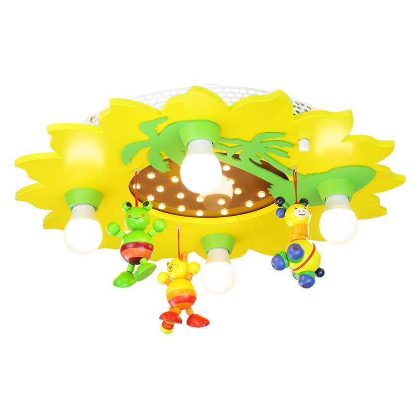 Deckenleuchte Sonne mit Palme + Mobile 4/20 ● Holz ● 4-flammig- Elobra A+