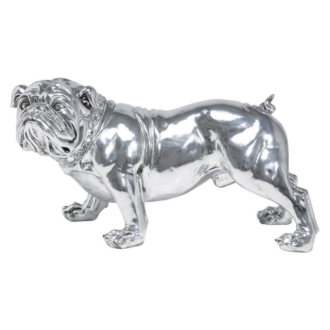 Deko Figur Bulldogge Silver 42cm – Polyresin Grau, Kare Design günstig
