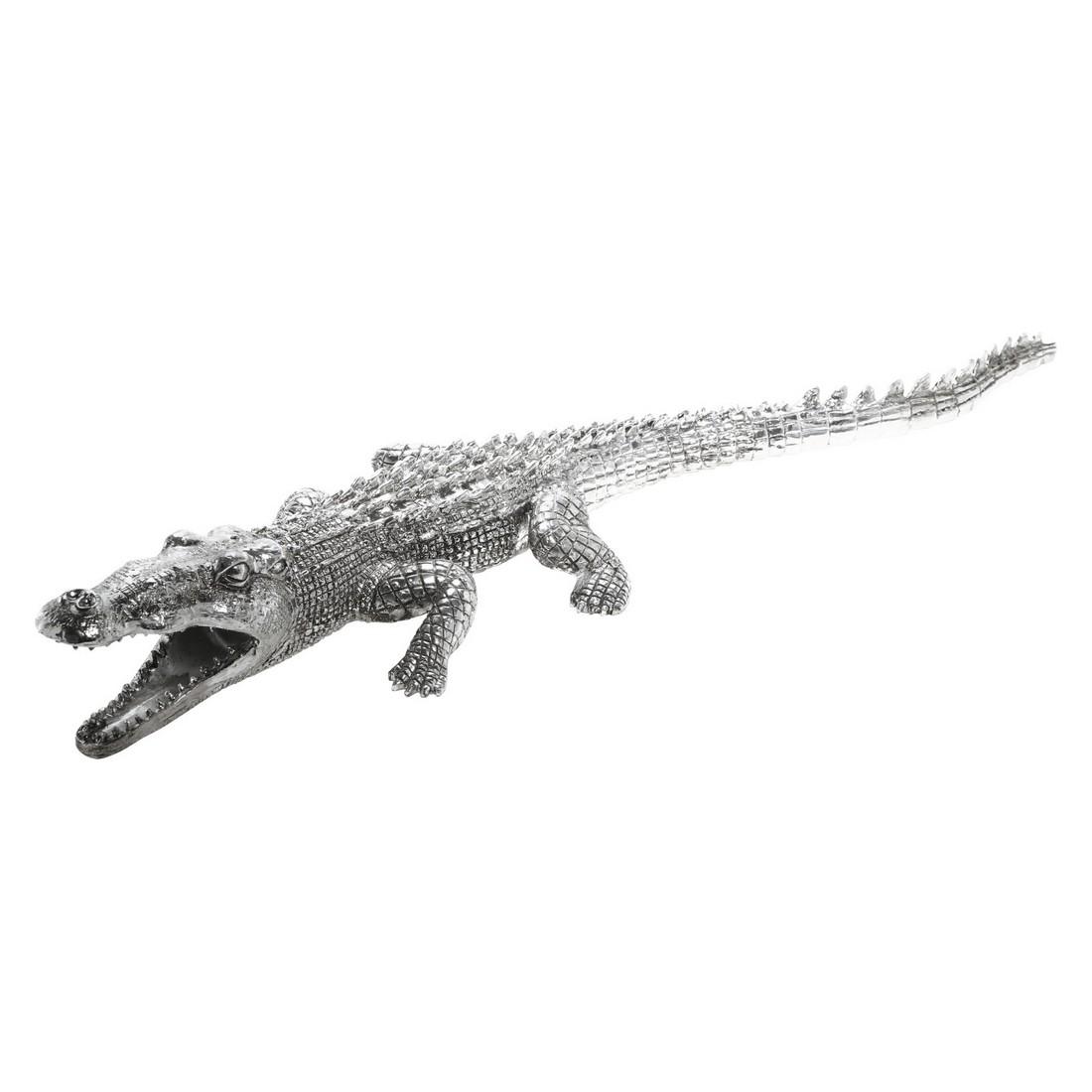 Deko Figur Krokodil Silver Big – Polyresin Grau, Kare Design kaufen