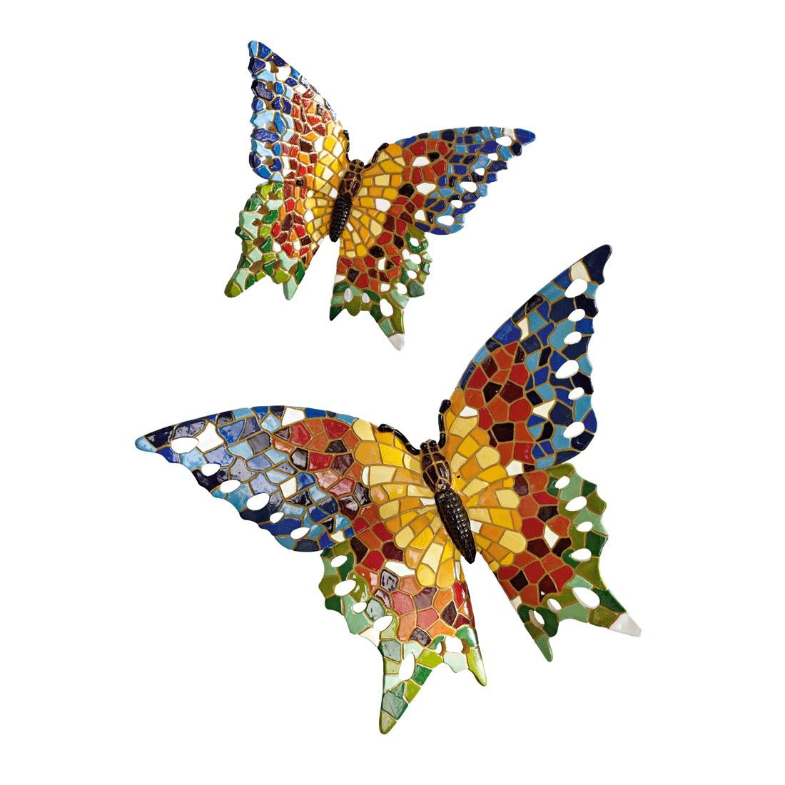Deko-Schmetterling Mosaik 2-teilig – Kunststein – Bunt, PureDay günstig bestellen