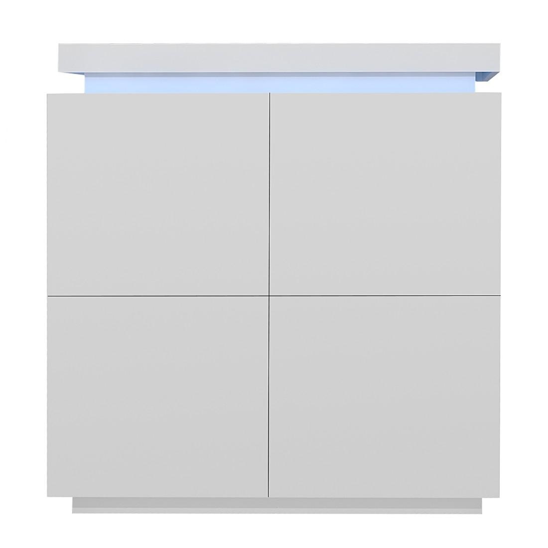 EEK A+, Dielenkommode Emblaze (inkl. Beleuchtung) – Hochglanz Weiß, loftscape günstig
