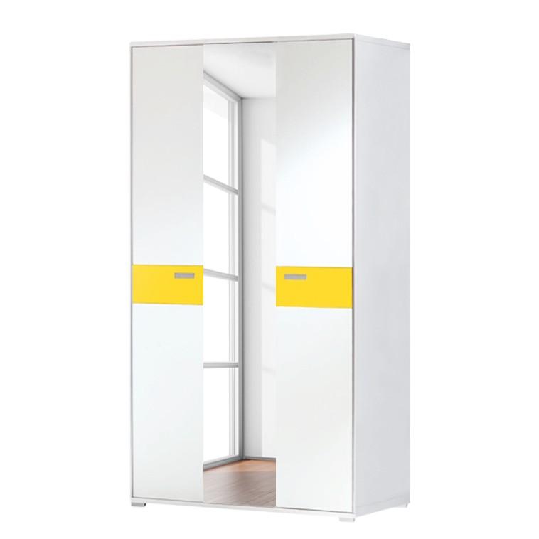 Dielenschrank Bolton II (mit Spiegel) – Weiß/Sonnengelb, Voss bestellen