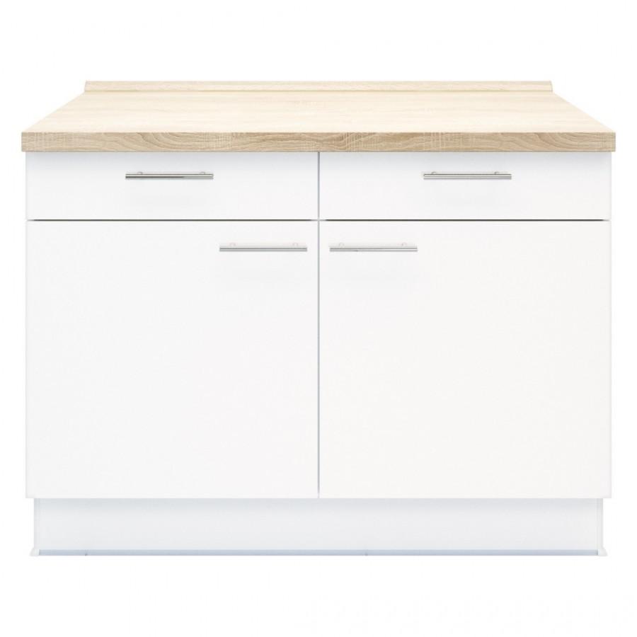 Doppel Unterschrank Basic – 2x Schubladen – 1x Besteckeinsatz – Weiß, Kiveda günstig bestellen
