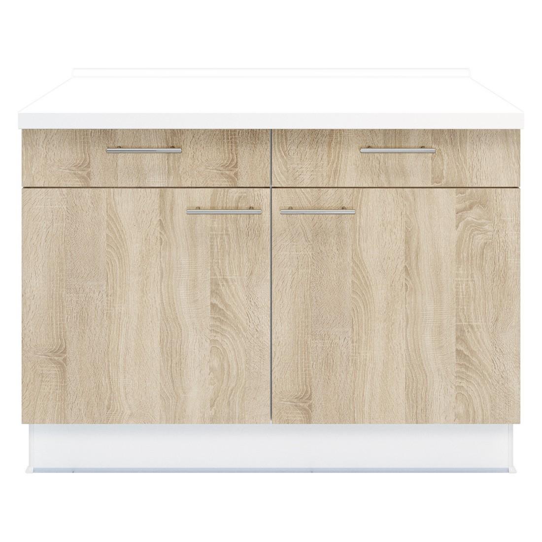 Doppel Unterschrank Basic – 2x Schubladen – 1x Besteckeinsatz – Eiche Sonoma Dekor, Kiveda kaufen
