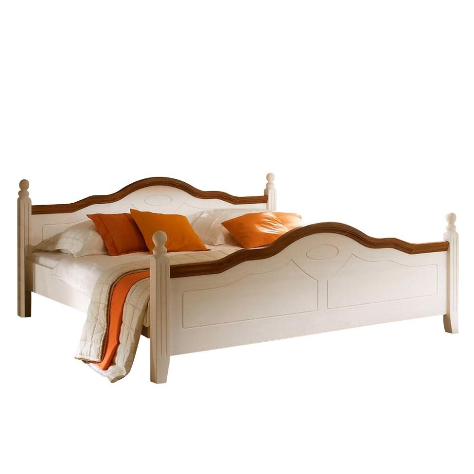 Doppelbett Filigrano – Pinie Massivholz – Weiß/Nussbaumfarbig – Liegefläche: 160 x 200 cm, Nature Dream günstig online kaufen