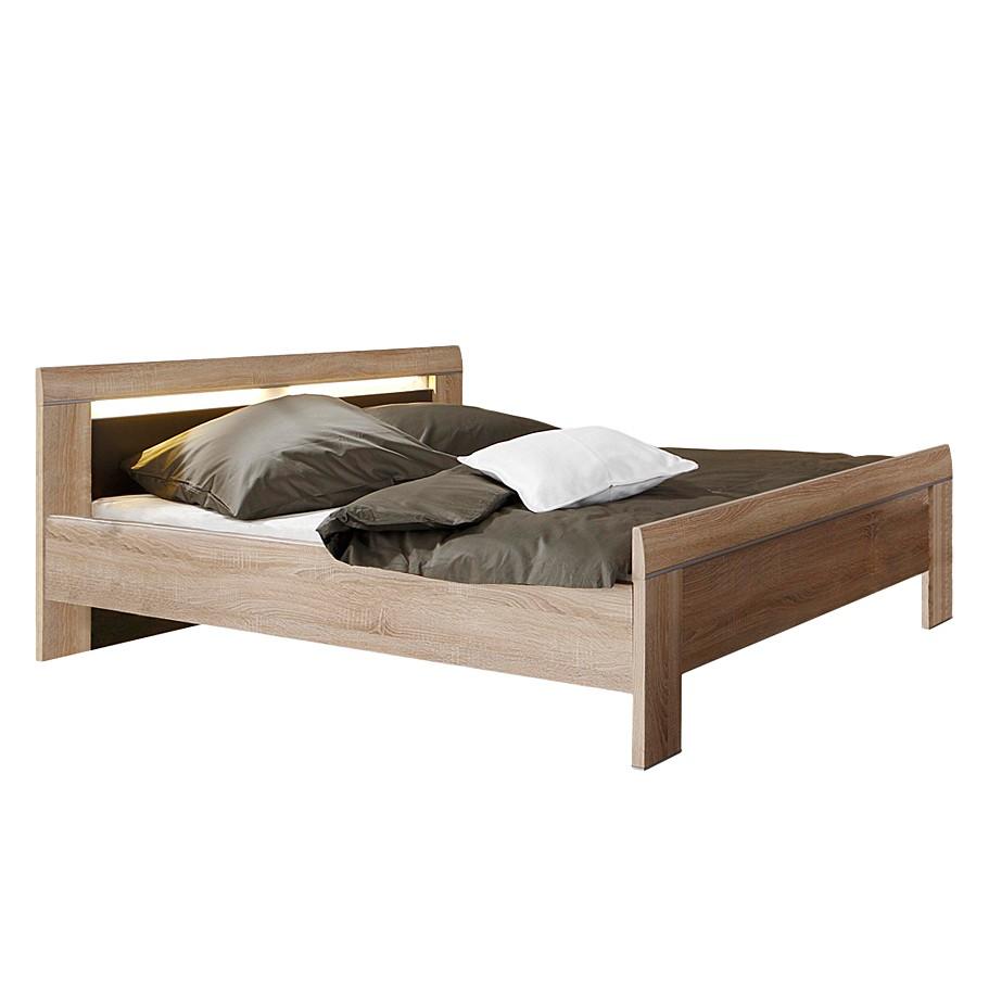 Doppelbett Ron – 140 x 200cm – Ohne Beleuchtung – Eiche Sägerau Dekor / Braun, Franco Möbel jetzt bestellen