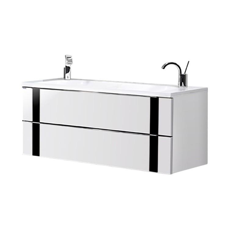 Doppelwaschtisch Vedro – Weiß/Schwarz, Lanzet günstig kaufen