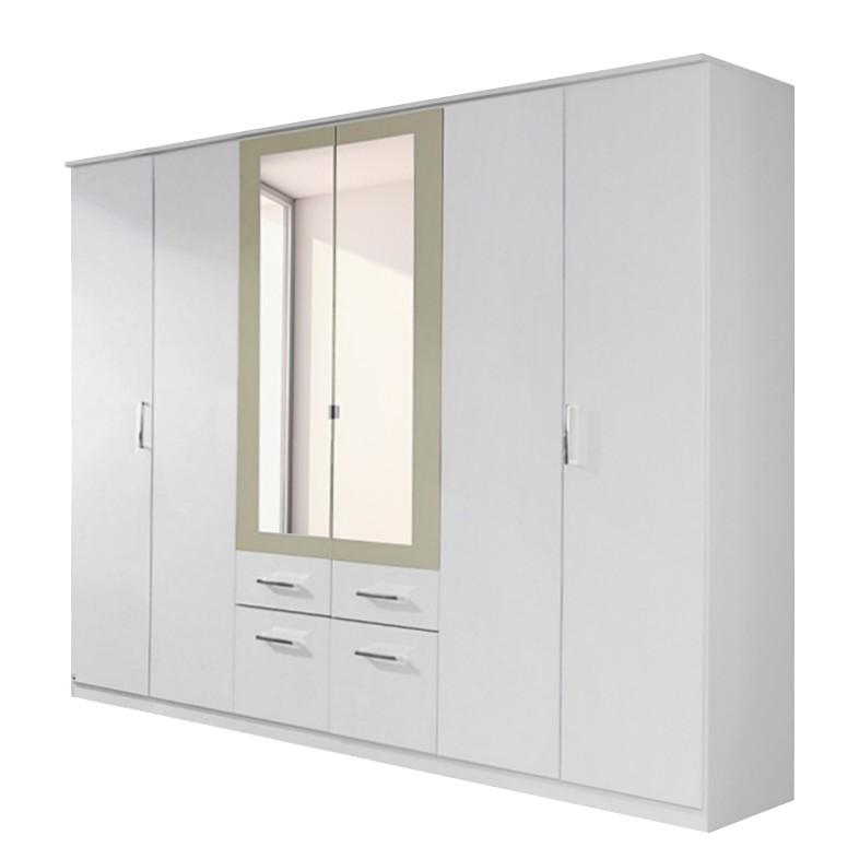 Drehtüren-/Kombischrank Burano – Alpinweiß Dekor – Spiegel in SandGrau eingefasst – Schrankbreite: 181 cm – 4-türig – 2 Spiegel, Rauch Pack´s jetzt kaufen