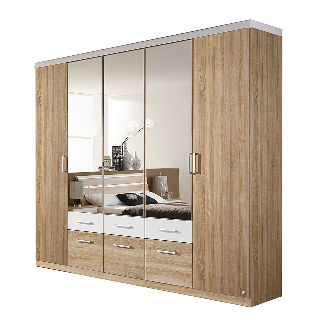 dreht renkombischrank rasa mit ohne spiegel eiche sonoma dekor alpinwei schrankbreite. Black Bedroom Furniture Sets. Home Design Ideas