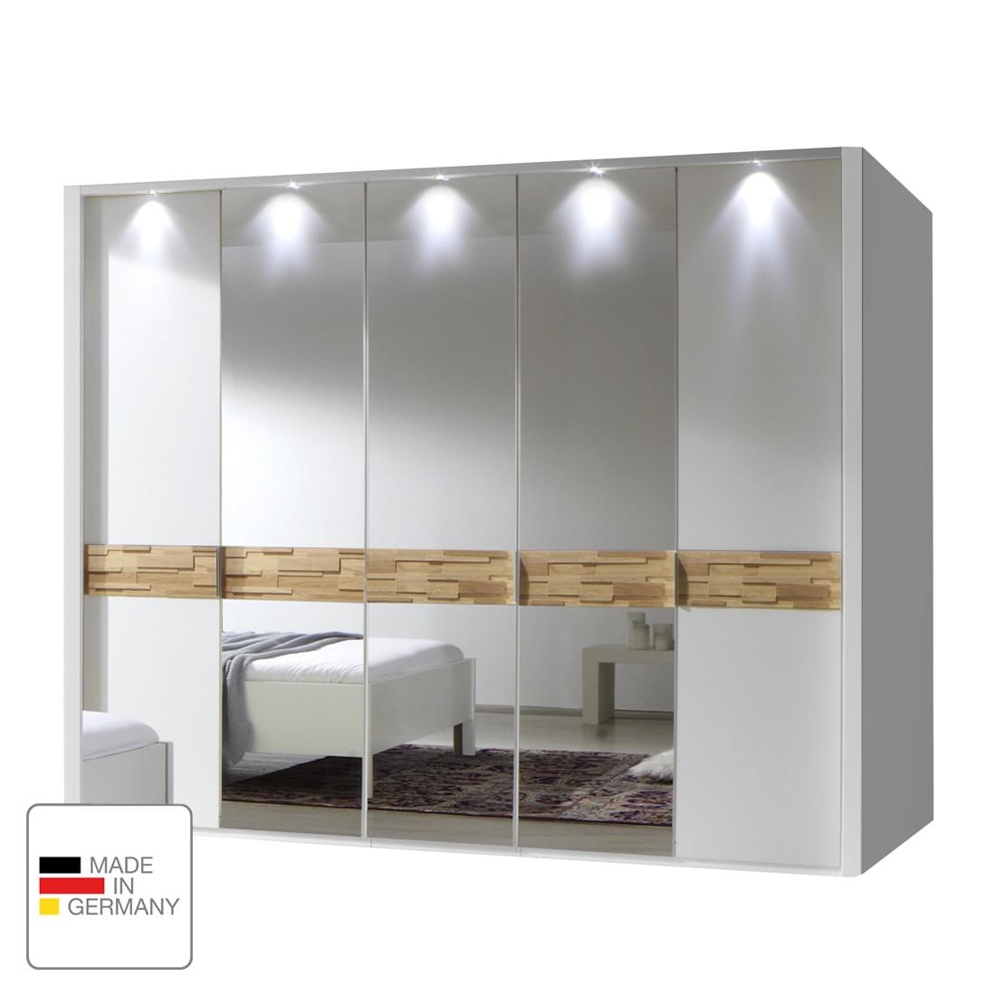 Drehtürenschrank Adria II – Alpinweiß/Eiche massiv – 200 cm (4-türig) – 2 Spiegeltüren – Mit beleuchtetem Passepartout, Althoff kaufen
