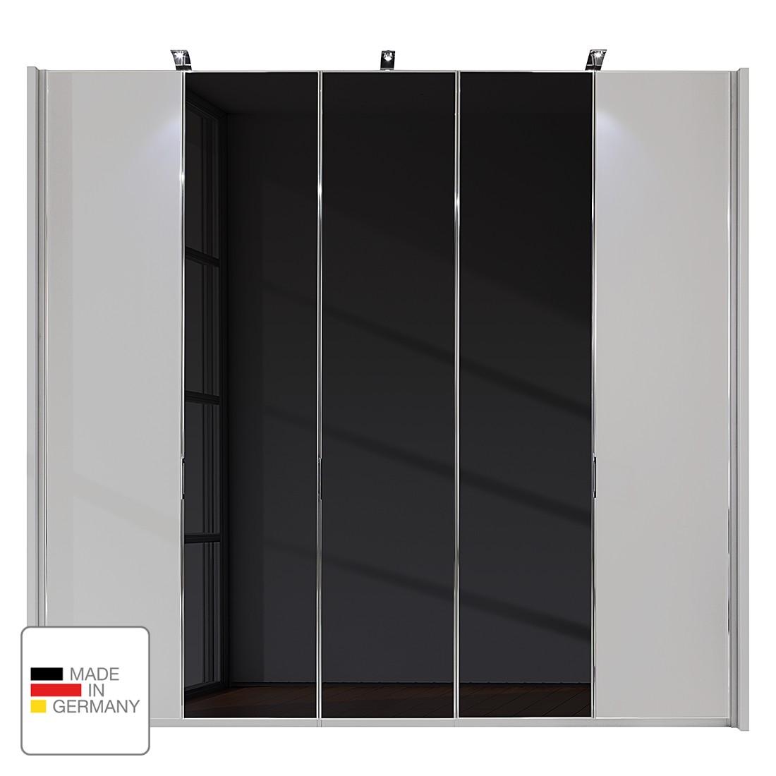 Drehtürenschrank Amsterdam - Silber/Graphit - LED-Beleuchtung - 250 cm (5-türig) - 216 cm - 1 Glastür (Anschlag rechts), Althoff
