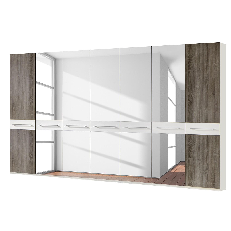 Drehtürenschrank Ancona - Trüffeleiche Dekor - Alpinweiß / Trüffeleiche Dekor - 350 cm (7-türig) - 5 Spiegeltüren - Ohne Passepartoutrahmen, Althoff