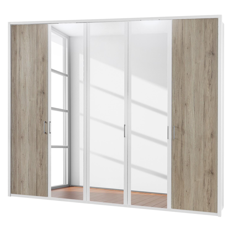 EEK A+, Drehtürenschrank Arizona Sleep - Alpinweiß / Eiche Santana Dekor - 250 cm (5-türig) - 3 Spiegeltüren - Mit beleuchtetem Passepartout, Althoff