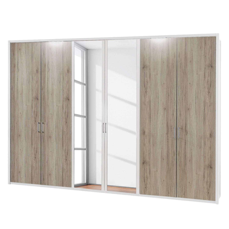 EEK A+, Drehtürenschrank Arizona Sleep - Alpinweiß / Eiche Santana Dekor - 300 cm (6-türig) - 2 Spiegeltüren - Mit beleuchtetem Passepartout, Althoff