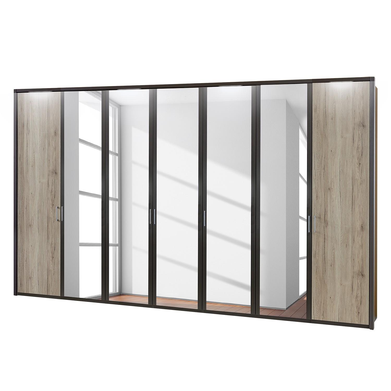 EEK A+, Drehtürenschrank Arizona Sleep - Havanna / Eiche Santana Dekor - 350 cm (7-türig) - 5 Spiegeltüren - Mit beleuchtetem Passepartout, Althoff