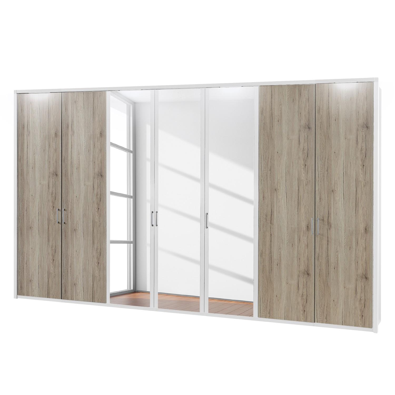 EEK A+, Drehtürenschrank Arizona Sleep - Alpinweiß / Eiche Santana Dekor - 350 cm (7-türig) - 3 Spiegeltüren - Mit beleuchtetem Passepartout, Althoff