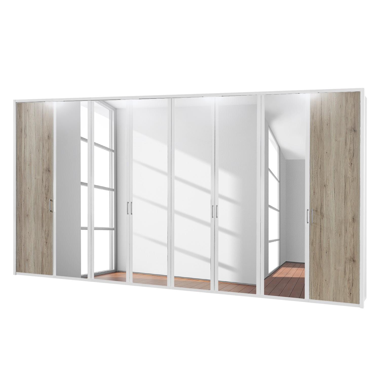 EEK A+, Drehtürenschrank Arizona Sleep - Alpinweiß / Eiche Santana Dekor - 400 cm (8-türig) - 6 Spiegeltüren - Mit beleuchtetem Passepartout, Althoff