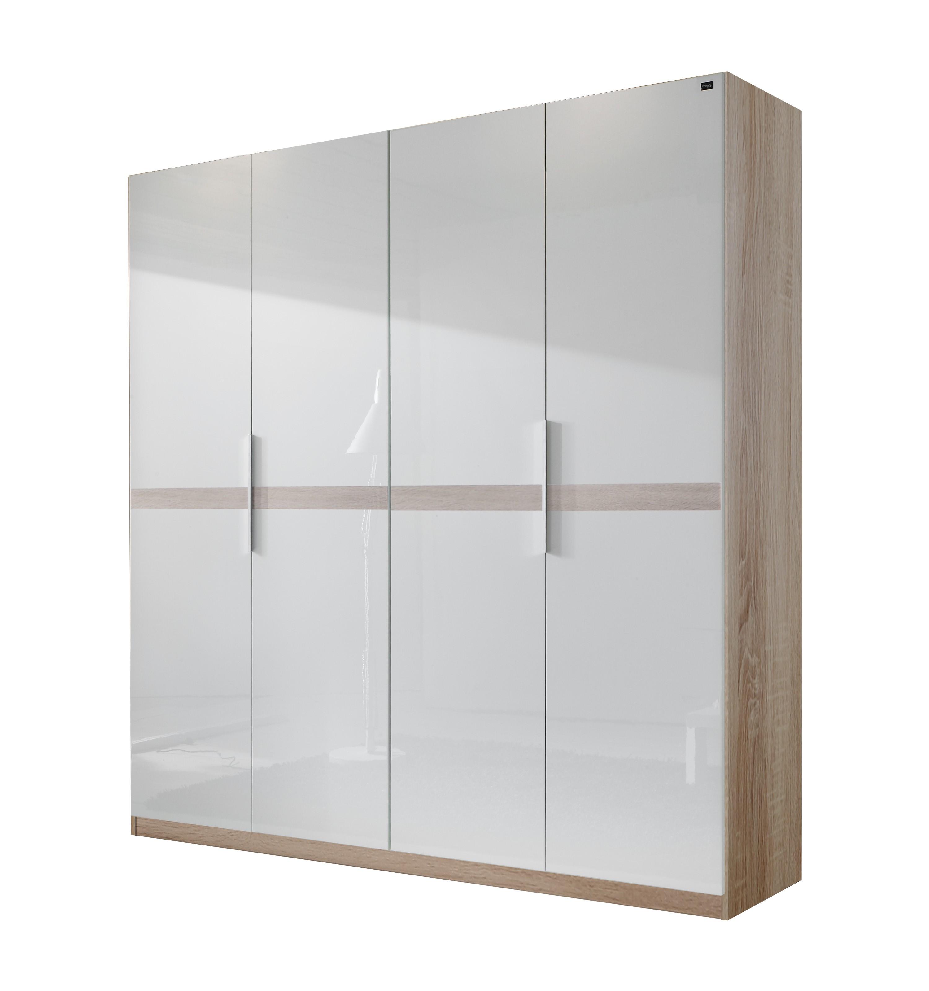 Drehtürenschrank Add on B – Perlglanz Softwhite/Eiche Sägerau Dekor – Schrankbreite: 200 cm – 4-türig, fresh to go kaufen
