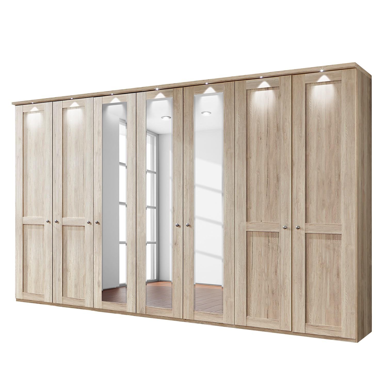 EEK A+, Drehtürenschrank Bergamo - LED-Beleuchtung - Eiche Sägerau Dekor - 350 cm (7-türig) - 3 Spiegeltüren - Mit Kranzblende, Althoff