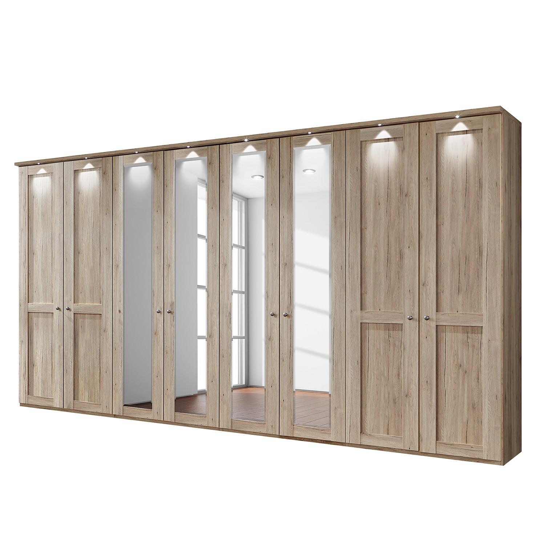 EEK A+, Drehtürenschrank Bergamo - LED-Beleuchtung - Eiche Santana Dekor - 400 cm (8-türig) - 4 Spiegeltüren - Mit Kranzblende, Althoff