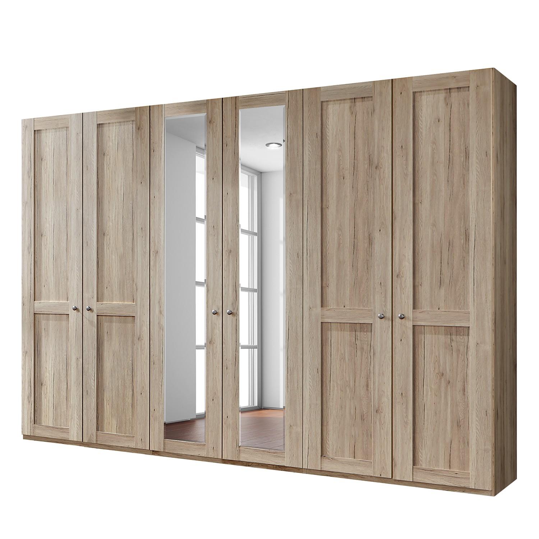 Drehtürenschrank Bergamo - Ohne Beleuchtung - Eiche Santana Dekor - 300 cm (6-türig) - 2 Spiegeltüren - Ohne Kranzblende, Althoff