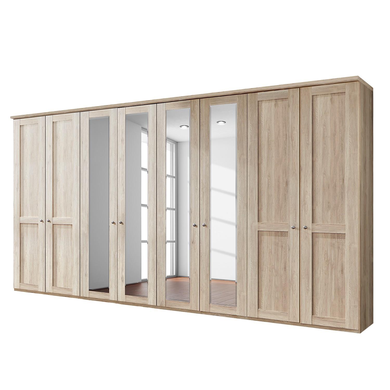 Drehtürenschrank Bergamo - Ohne Beleuchtung - Eiche Sägerau Dekor - 400 cm (8-türig) - 4 Spiegeltüren - Mit Kranzblende, Althoff
