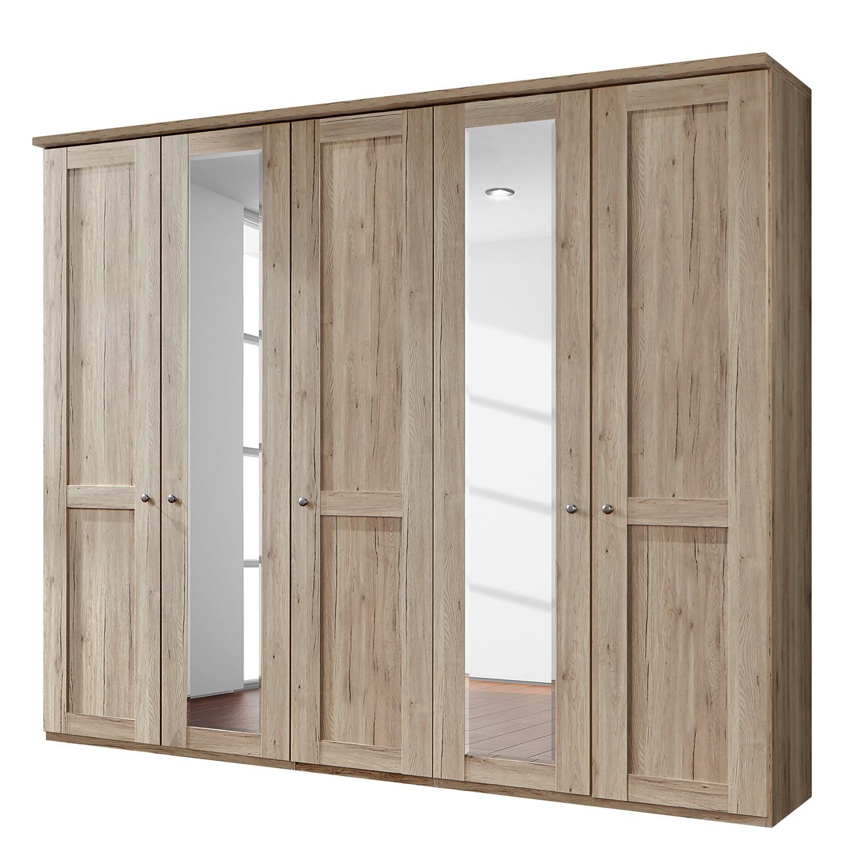 Drehtürenschrank Bergamo - Ohne Beleuchtung - Eiche Santana Dekor - 250 cm (5-türig) - 2 Spiegeltüren - Mit Kranzblende, Althoff