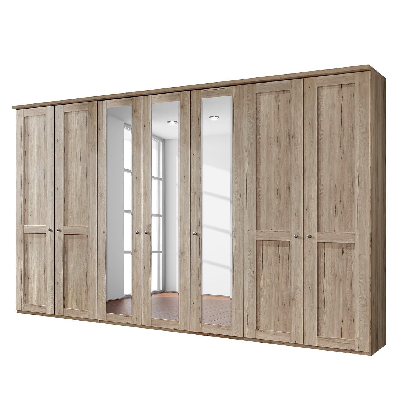 Drehtürenschrank Bergamo - Ohne Beleuchtung - Eiche Santana Dekor - 350 cm (7-türig) - 3 Spiegeltüren - Mit Kranzblende, Althoff