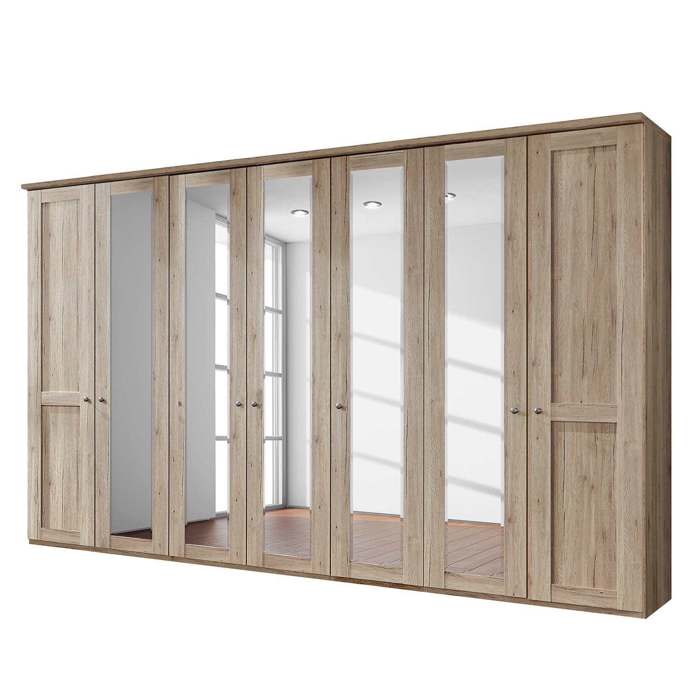 Drehtürenschrank Bergamo - Ohne Beleuchtung - Eiche Santana Dekor - 350 cm (7-türig) - 5 Spiegeltüren - Mit Kranzblende, Althoff