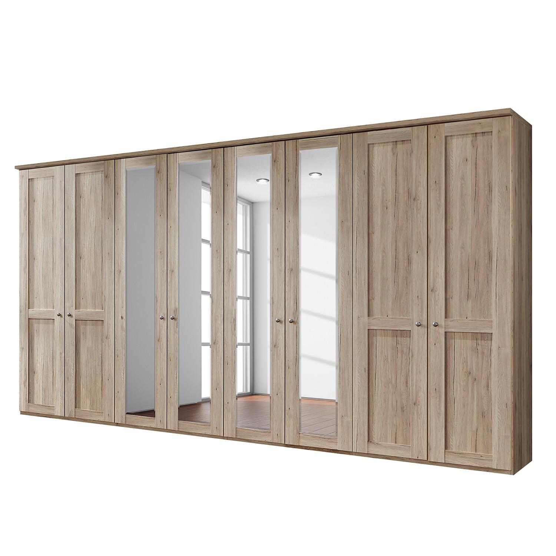 Drehtürenschrank Bergamo - Ohne Beleuchtung - Eiche Santana Dekor - 400 cm (8-türig) - 4 Spiegeltüren - Mit Kranzblende, Althoff
