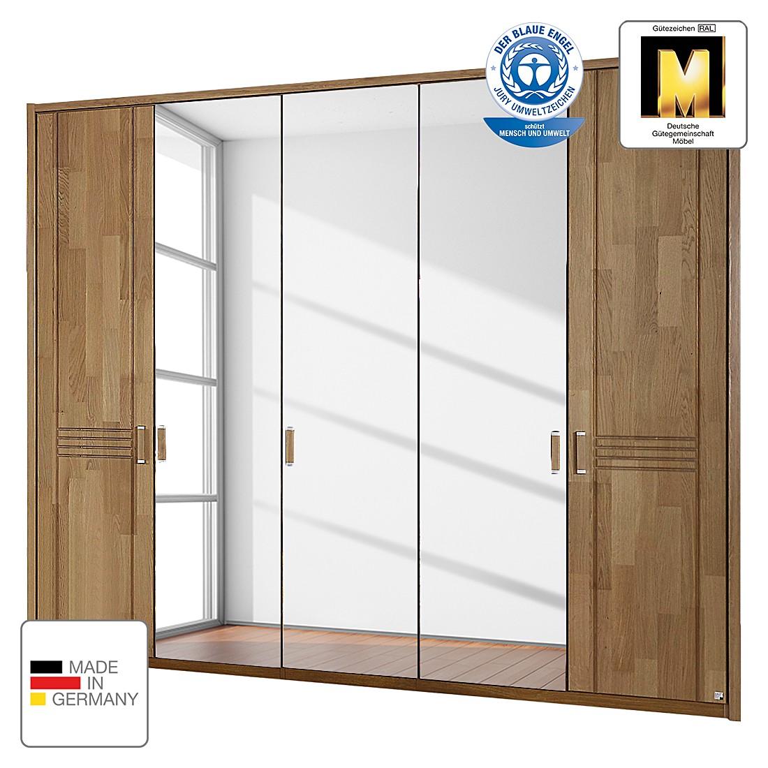 Drehtürenschrank Casano - Wildeiche teilmassiv - 235 cm (5-türig) - 2 Spiegeltüren - Mit Passepartoutrahmen, Rauch Steffen