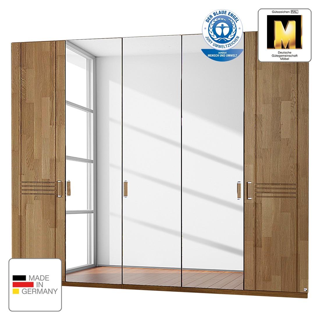Drehtürenschrank Casano - Wildeiche teilmassiv - 235 cm (5-türig) - 2 Spiegeltüren - Ohne Passepartoutrahmen, Rauch Steffen