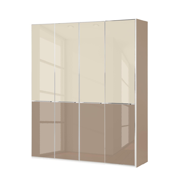 Drehtürenschrank Chicago I - Glas Magnolie / Glas Sahara - 200 cm (4-türig) - 216 cm, Althoff